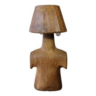 Vintage Short Wooden Torso Form Table Lamp