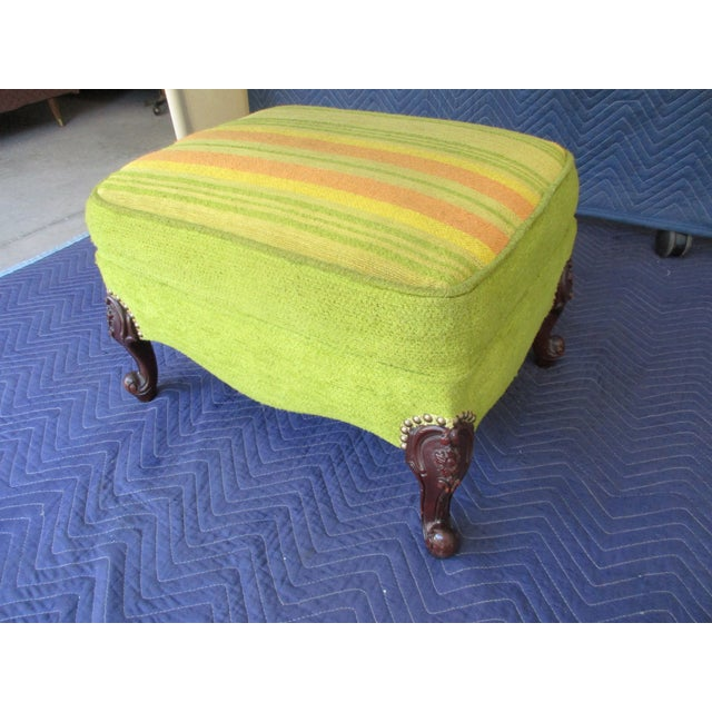 French Style Footstool With Mid-Century Modern Fabric For Sale - Image 6 of 11