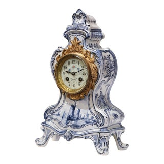 Mid-19th Century French Hand-Painted Blue and White Faience Mantel Clock For Sale