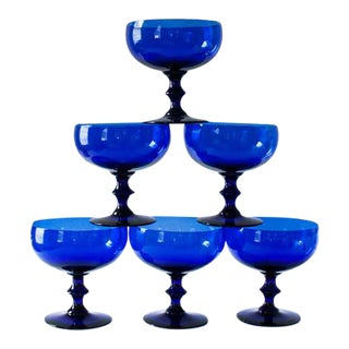 Cobalt Champagne Coupes - Set of 6 For Sale