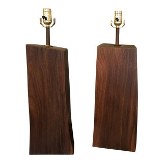 Handcrafted Black Walnut Table Lamps For Sale