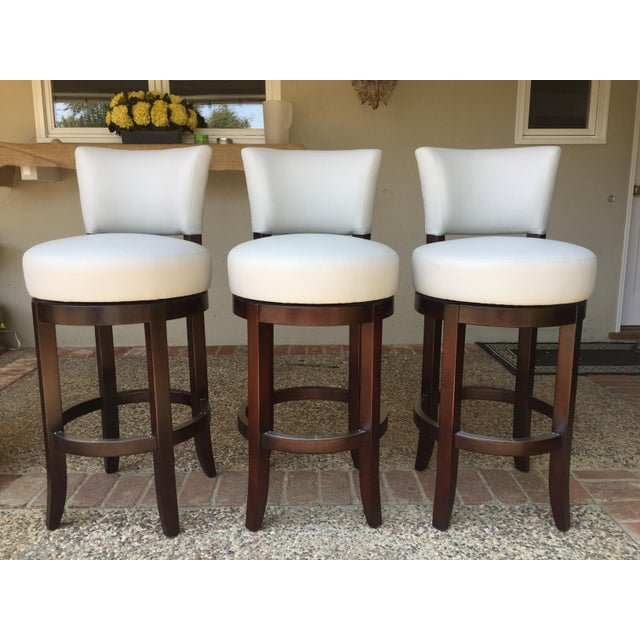 Animal Skin Mahogany Barstools From Charles Stewart- Set Of 3 For Sale - Image 7 of 7
