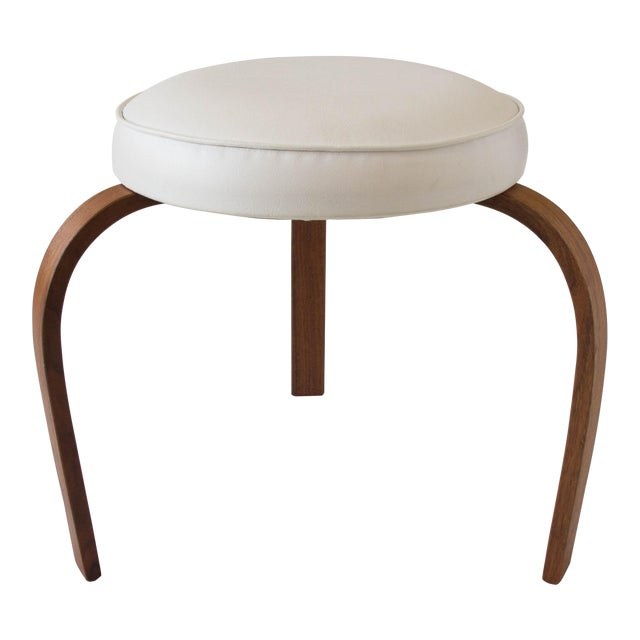 American-Made Stool with Bent Wood Legs For Sale