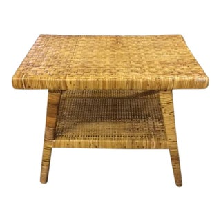 Asian Inspired Wicker, Cane & Wood Side Table