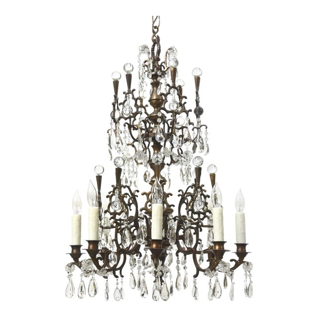 Bohemian Bronze and Crystal Eight Light Chandelier For Sale