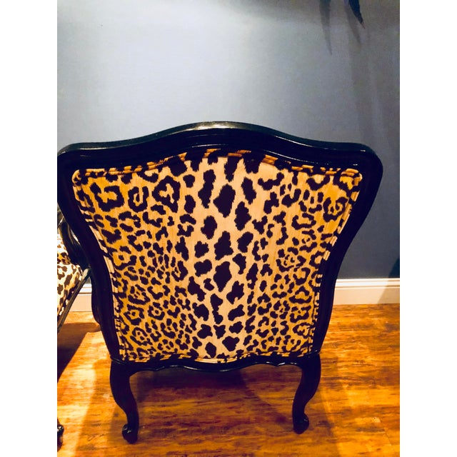 Black Lacquered Jamil Velvet Leopard Armchairs - A Pair For Sale - Image 10 of 14