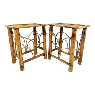 Vintage Rectangular Golden Bamboo End Tables or Stools - a Pair For Sale