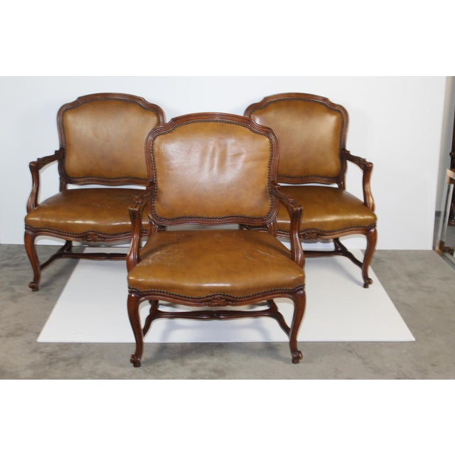 Louis XV-Style Brown Leather Chairs - Set of 3 - Image 2 of 5