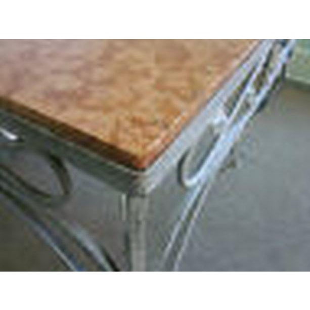 White Salterini Square Ornate Iron Marble Top Patio Outdoor Dining Table For Sale - Image 8 of 12