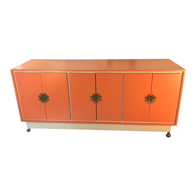 Chinoiserie Chic Orange Cabinet & Drawers Credenza Sideboard For Sale