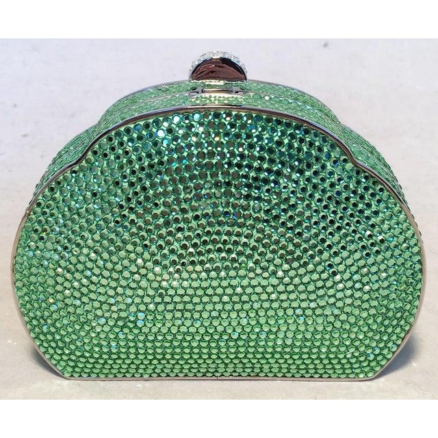 Judith Leiber Judith Leiber Green Swarovski Crystal Minaudiere Evening Bag For Sale - Image 4 of 9