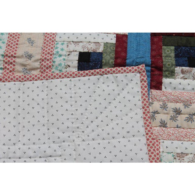Textile Log Cabin Crib Quilt From Pennsylvania For Sale - Image 7 of 9