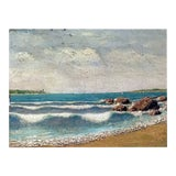 Image of New Haven Connecticut Harbor Impressionist Painting Circa 1880 For Sale