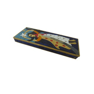 Brass & Inlaid Glass Tile Box by Mexican Modern Artist Salvador Teran For Sale