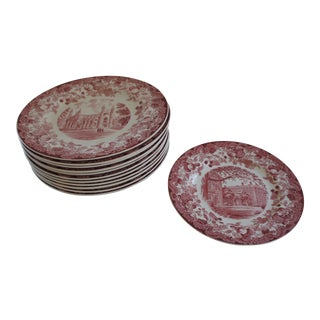 Wedgwood Harvard University Scenes Floral Pink Plates - Set of 12 For Sale