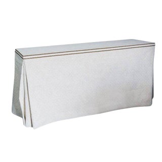 Custom Rose Tarlow Linen Skirted Console - Designed by Jeffrey Bilhuber For Sale