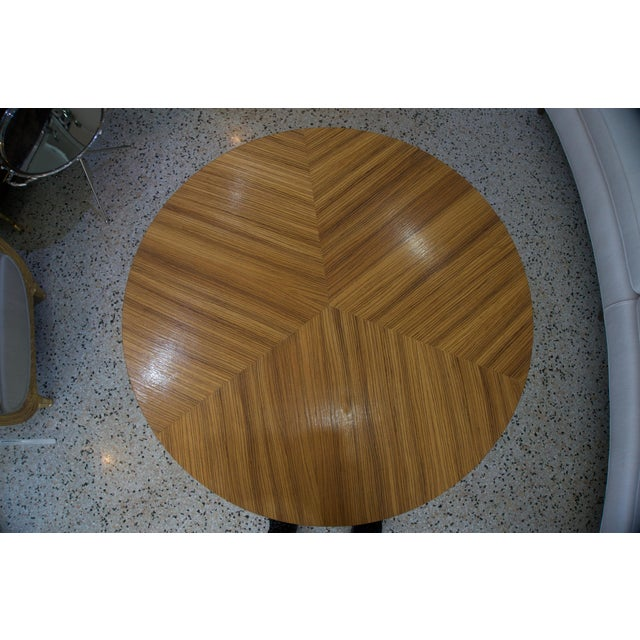 Art Deco Art Deco Revival Center Table in Exotic Zebrano Wood For Sale - Image 3 of 9