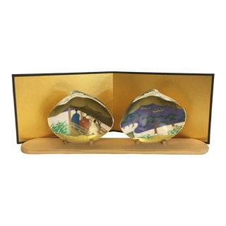 1960s Vintage Japanese Kai-Awase Clam Shell Art - 4 Pieces For Sale