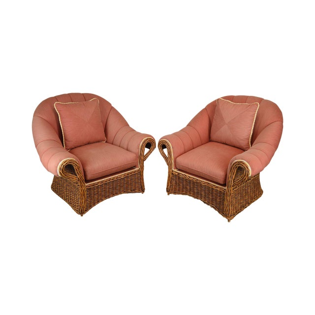 Pierce Martin Quality Pair Rolled Arm Wicker Lounge Chairs For Sale