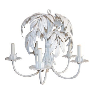Faux Bamboo & Palm Frond Tole Chandelier
