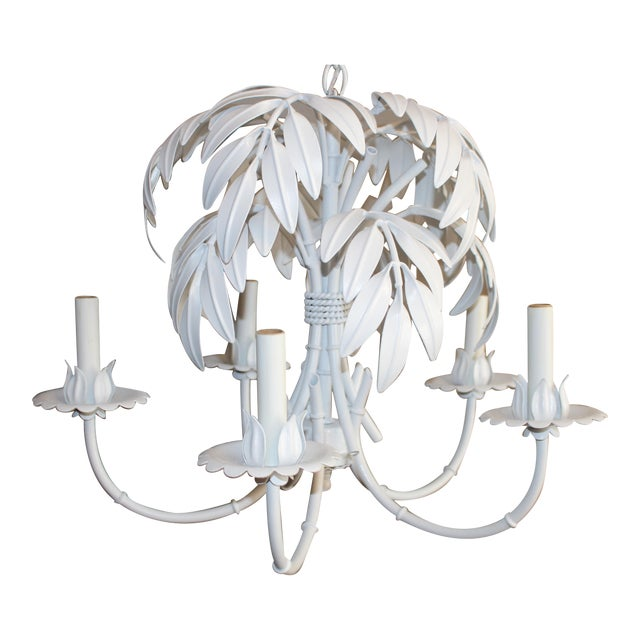 Faux Bamboo & Palm Frond Tole Chandelier - Image 1 of 6