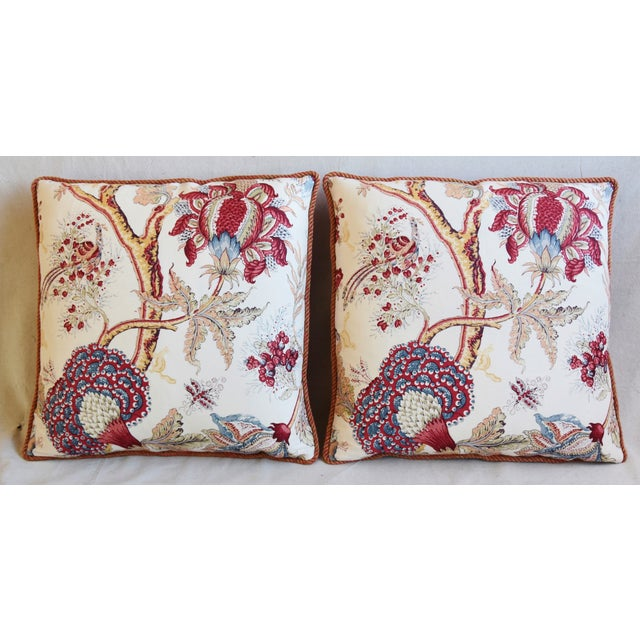 Pair of custom-tailored pillows in vintage hand-printed Dragon Flower pattern 100% linen fabric from Bennison Fabrics....