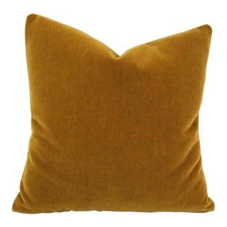 "S. Harris Ankara Mohair Amber Velvet Pillow Cover - 20"" X 20"" For Sale"