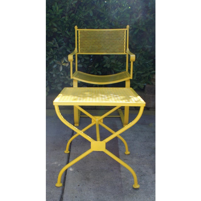 Metal Vintage Mid Century Buttercup Yellow French Directoire Style Wrought Iron Patio Set- 5 Pieces For Sale - Image 7 of 13