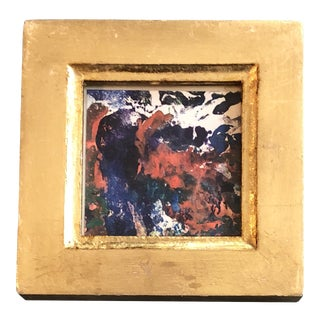 Original Vintage Miniature Abstract Oil Painting Vintage Italian Gilt Wood Frame 1970's For Sale