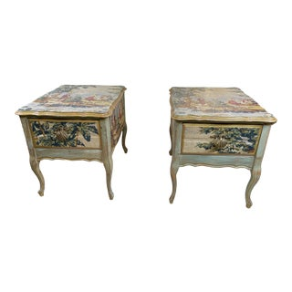 1960s Night Stands Decoupaged With Idyllic Scene - a Pair For Sale