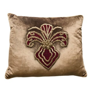 Brown Velvet Pillow Re-Designed With Antique Metallic Gold Wire Embroidery For Sale