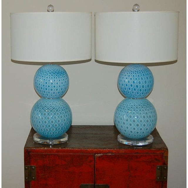 Hollywood Regency Galliano Ferro Vintage Murano Glass Table Lamps Blue For Sale - Image 3 of 11