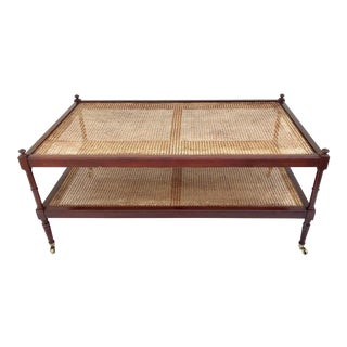 Americana Baker Furniture Cane Coffee Table on Brass Wheels