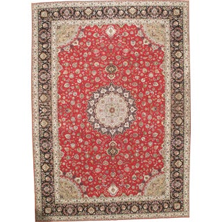 "Pasargad Fine Persian Tabriz 60-Raj Silk & Wool Rug - 11'5"" X 16'2"" For Sale"