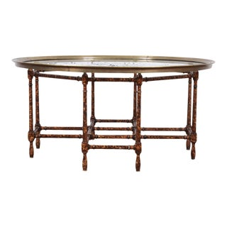 Baker Furniture Hollywood Regency Chinoiserie Faux Bamboo Cocktail Table For Sale