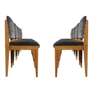 Set of 8 French Modernist Walnut Chairs For Sale