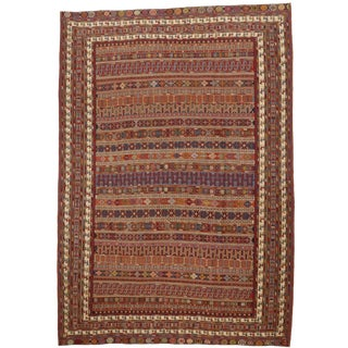 "Tribal Persian Afshar Flat-Weave Rug - 6'7"" X 9'6"" For Sale"