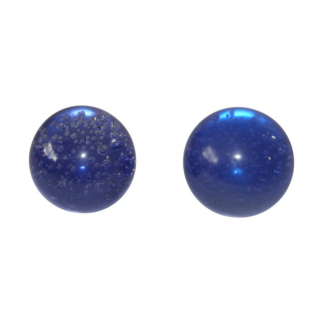 Pair Controlled Bubble Glass Paperweight - Image 1 of 8