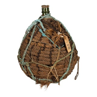 19th Century French Blown Glass & Rope Demijohn Bottle For Sale