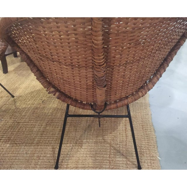 Mid-Century Rattan Wicker Hoop Chairs - Pair - Image 8 of 9