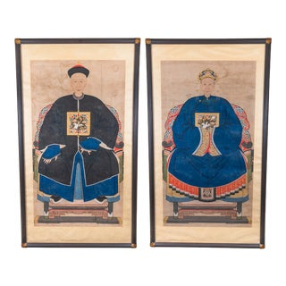 19th Century Ming Dynasty Chinese Ancestral Paintings, Framed - a Pair For Sale
