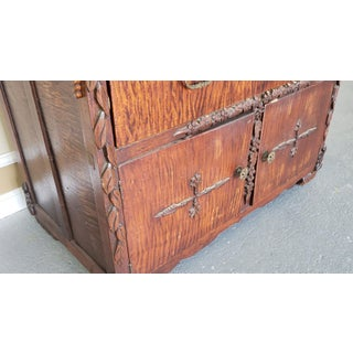 One of a Kind Antique Victorian Artists Made Tramp Art Chestnut & Maple Cabinet W/ Mirror Top Preview