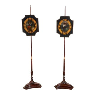 Early 19th Century Regency Polychrome Painted Pole Screens - a Pair For Sale