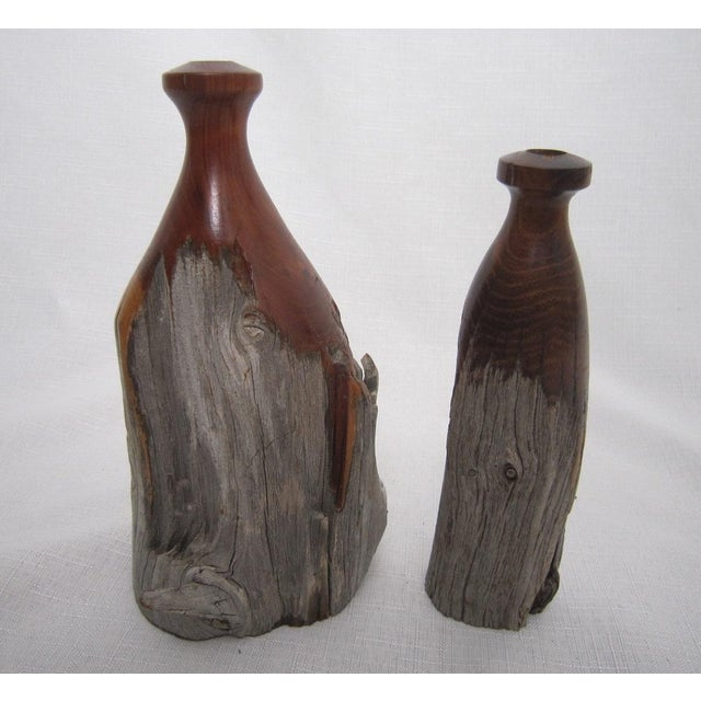 Mid Century Burl Wood Vases - Pair - Image 2 of 4