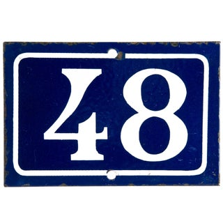 Vintage French Enamel House Number 48 For Sale