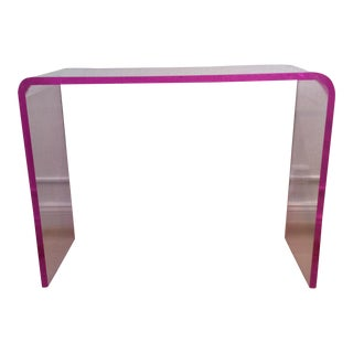 Pink Acrylic Waterfall Console Table For Sale