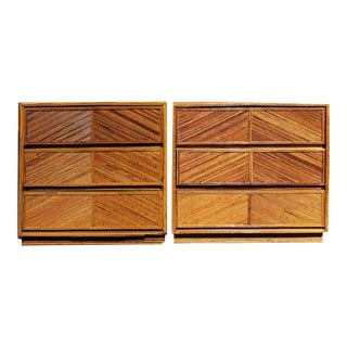 Milo Baughman Style Split Bamboo Rattan Chest of Drawers - A Pair