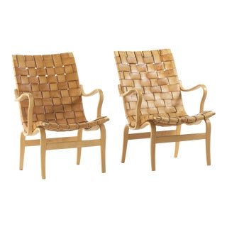 Bruno Mathsson Leather Eva Chairs - A Pair