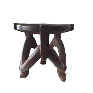 """Makonde 3-Legged Stool /Table Tanzania 18.5"""" H by 17.5"""" For Sale"""