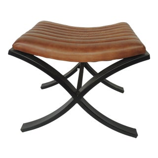 Brown Modern Polished Leather Footstool For Sale